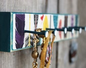 Necklace holder Earring rack Cute organizer Housewarming gift Vintage Tribal Feathers Handmade Colorful teal rack . the WaLLFLoWeR . PLuMe