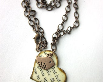 Love bird heart necklace charm necklace, literary necklace, book jewelry, paper bead, Random Winds