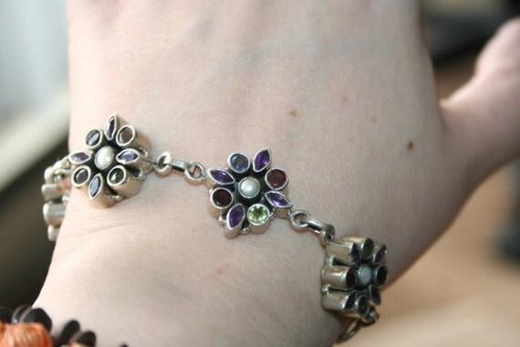SOLD ...Vintage Bracelet ,Flower Rainbows  Sterling Silver,Full Of Peridot,  Red Garnet, Onyx , Pearls and Purple Amethyst Stones