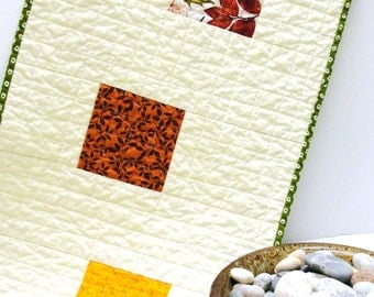 """Autumn table runner- quilted, LARGE- with orange, rust, mustard on creamy white """"Equinox"""" Ready to ship"""