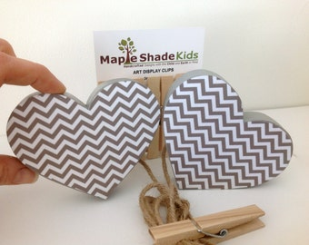 Heart Art Display Clips - Gray Chevron - eco-friendly by Maple Shade Kids