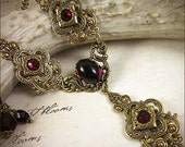 Red Renaissance Necklace, Medieval Jewelry, Garnet Jewel, Medieval Costume, Tudor Garb, Victorian, Bridal, Wedding, Bridesmaid, Ren Faire