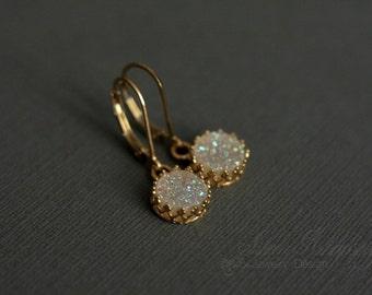 Gold Druzy Earrings Lever Back  - White Druzy - Victorian Style Bezel - Diamond Earrings