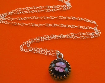 Sterling Silver Crown Bezel Black Lampwork Glass Necklace With Pink Rose