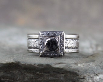 Men's Raw Blue Sapphire Ring  -  September Birthstone Ring - Blue Gemstone Ring - Rustic Sapphire Ring - Sterling Silver Statement Ring