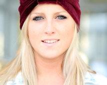 Velvet Turban - Women's Fashion Hair Wrap in Burgundy - Bohemian Style Hair Accessories