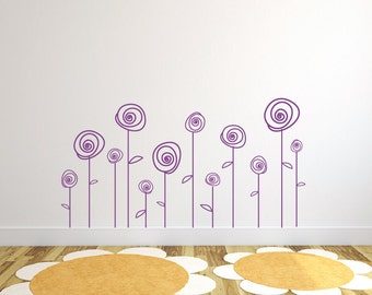 Girls flower wall decal for nursery - Set of 12  DB321