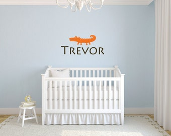 Boy name wall decal with alligator  DB339