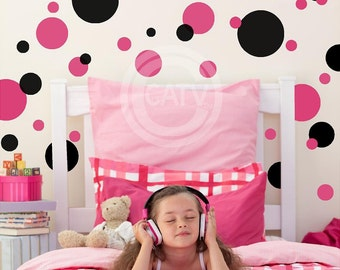 Set of 32 large Polka Dots two colors (you choose colors) plus 10 small dots free Wall Decal Stickers Kids Room nursery Decor Vinyl Circles