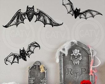 Halloween Bats set of 3 Vinyl lettering wall decal sticker home decor art