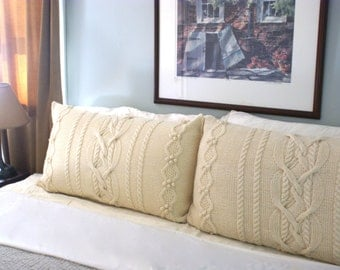 Oak Glen King Sized Knitted Pillow Shams