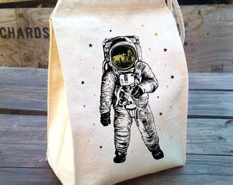 Lunch Bag, Astronaut lunch Bag gold stars Man on the moon, Recycled Cotton Canvas Snack sack with rope handle, velcro, and washable reusable