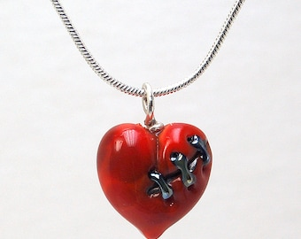 Dark Valentine Red Stitched Glass Heart A - Lampwork Pendant