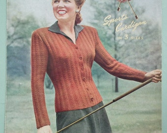 Vintage 1940s Knitting Pattern Women's Cardigan Golf Sports Cardigan fitted style 40s original colour pattern