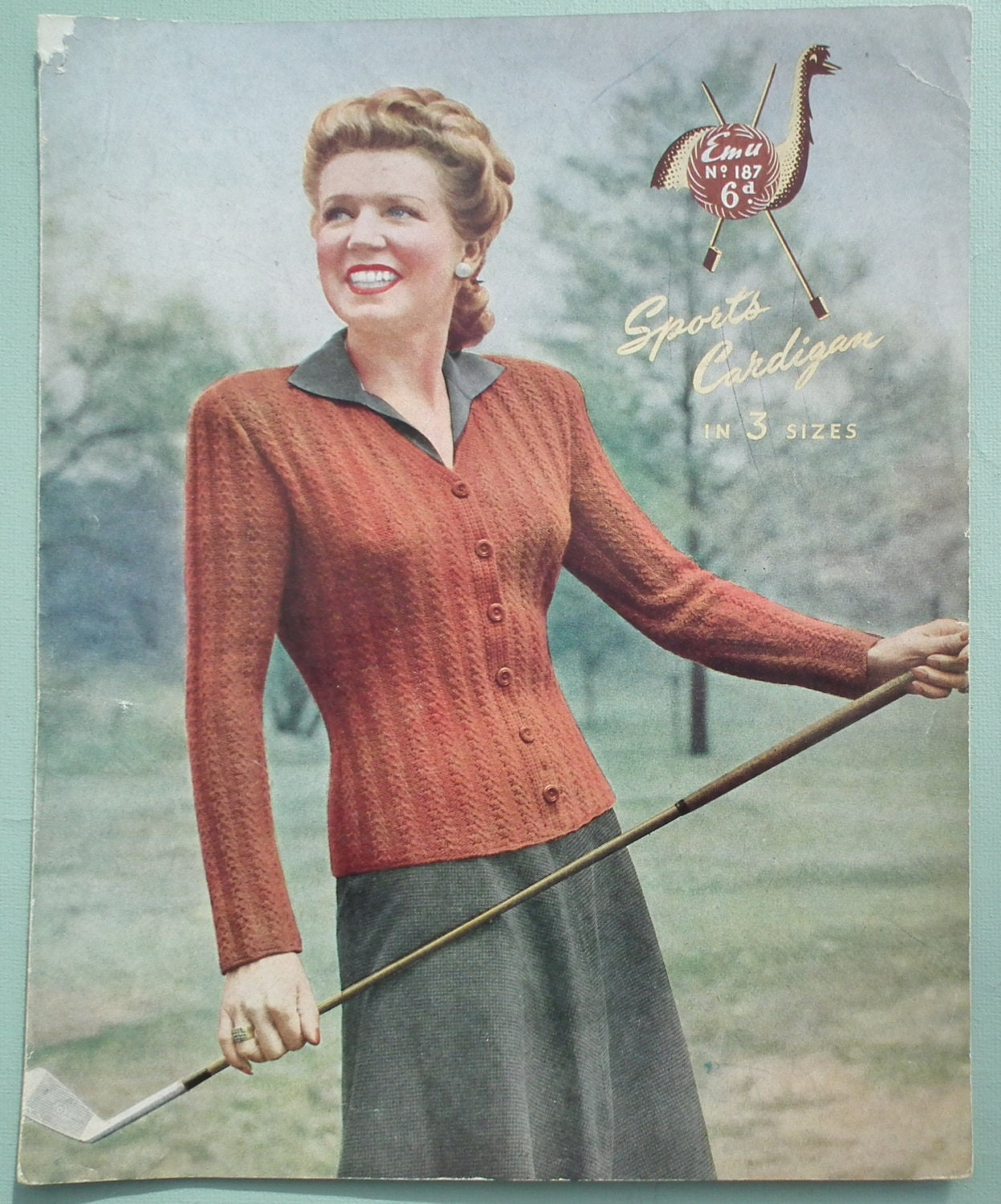 Vintage 1940s Knitting Pattern Women 39 S Cardigan Golf Sports Cardigan Fitted Style 40s Original