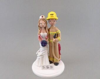 Custom Handmade Firefighter & Nurse Wedding Cake Topper