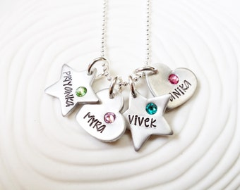 Hand Stamped, Personalized Birthstone Mother's Hearts and Stars Necklace - Mother's Necklace - Grandmother's Necklace- Mother's Day Gift