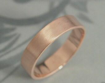Solid 14K Rose Gold Flat Wedding Band 5mm Straight And Narrow Mens