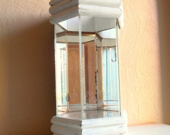 Large Terrarium Glass with Mirrors and Shabby Chic White Wood Wooden Frame