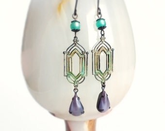 Art Deco Earrings Verdigris Earrings Vintage Glass Purple Green Earrings Art Deco Dangle Earrings