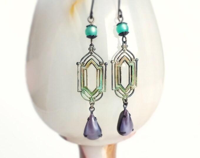 Art Deco Earrings Verdigris Earrings Vintage Glass Purple Green Earrings Art Deco Dangle Earrings
