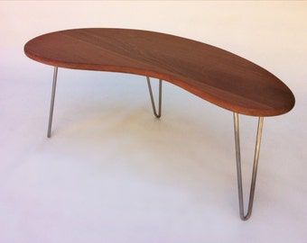 Outdoor IPE Mid Century Modern Coffee or Cocktail Table Kidney Bean Shaped BBQ Side Table Outdoor Entertaining Biomorphic In Solid Ipe Wood