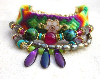 Beaded friendship cuff, multistrand friendship bracelet, bead friendship bracelet, gypsy bracelet, boho chic, ethnic bracelet, bohemian