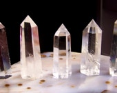 FIVE Quartz Crystals - natural polished prism - wire wrap jewelry piece display - very clear Quartz crystal white crystal point lot of five