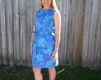 1960s Blue Floral Sun Dress from Hawaii