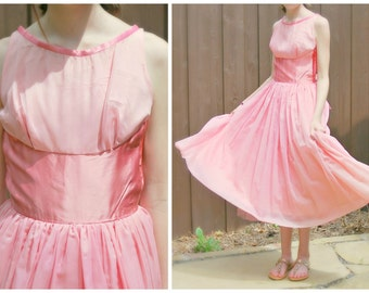 50s Emma Domb California Pink Party Dress with Tags - New Old Stock - Tulle, Satin Bow