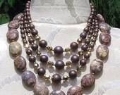 Natural Leopard Skin Jasper and Vintage Japan Handmade necklace
