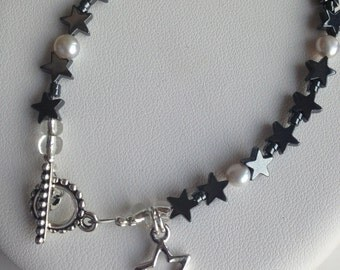 Bracelet - Pewter Open Star Charm with Hematite Stars and Freshwater Pearls