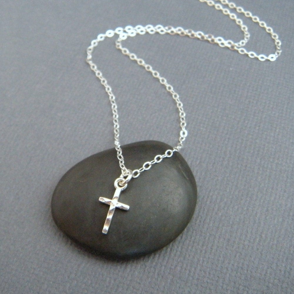 silver cross necklace tiny cross necklace sterling silver. Black Bedroom Furniture Sets. Home Design Ideas