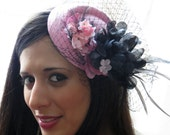 Pale pink fascinator with black veil wedding cocktal hat WINTERLICIOUS PINK