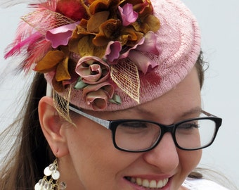 Dusty pink  fascinator vintage inspired wedding hat DUSTY ROSE
