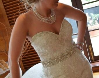 "24"" Wedding Sash Belt, Bridal Sash Belt, Rhinestone and Pearl Sash"