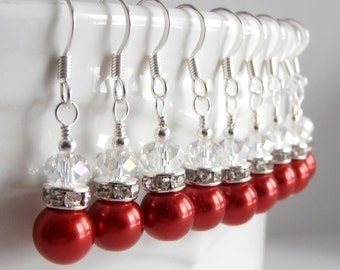 Small Pearl Dangles Christmas Red Bridesmaid Earrings Simple Red Pearl  Bridal Party Jewelry Holiday Weddings Beaded Earings Bridesmaid Gift