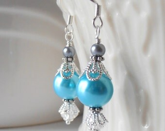 Aquamarine Pearl Earrings Bridesmaid Earrings Beaded Pearl Dangles Malibu Bridesmaid Jewelry Summer Wedding Jewelry Sets Blue and Silver