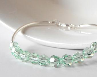 Mint Green Crystal Bracelet Mint Bridesmaid Jewelry Pastel Green Spring Wedding Jewelry Stackable Bracelets Bridesmaid Jewelry Silver