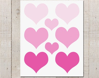 Ombre Hearts- Valentine Print - Instant download