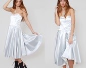 Vintage 80s SILVER Party Dress STRAPLESS Glam PROM Cocktail Dress