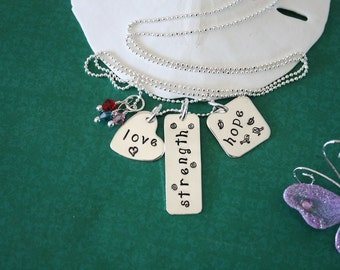 Hope Love Strength Necklace, Inspirational Jewelry, Pink, Personalized Necklace, Sterling Silver