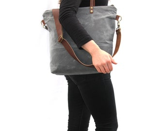 Waxed Canvas Tote in Charcoal Grey/Blue with Cross Body Leather Strap and Leather Handles