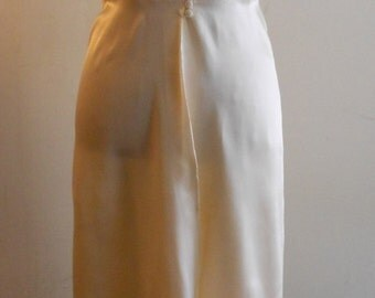 1940's, cream colored rayon satin nightgown and matching robe.