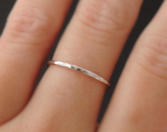 Sterling Silver Ring hammered skinny 16 gauge stackable ring