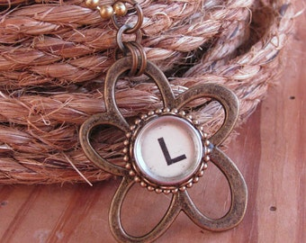 Typewriter Key Jewelry - Flower Jewelry - White Initial L Openwork Antique Brass Flower Pendant Necklace - Summertime - Personalized