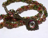 Rose and Green Magical Eye Handbeaded Necklace
