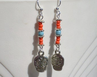 Day of the Dead Dia de los Muertos Calavera Skull Coral Turquoise Halloween Earrings
