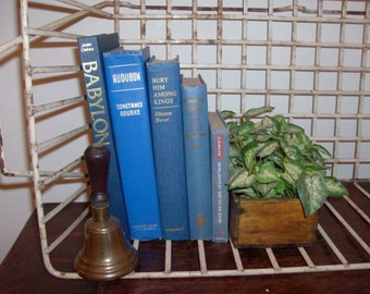 Instant Collection of 5 Blue Vintage and Antique Books