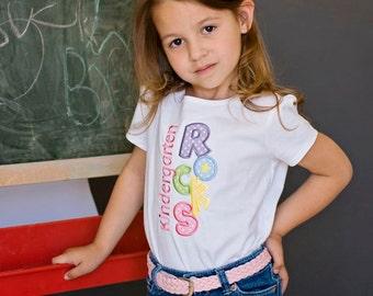 Kindergarten Rocks Appliqued T shirt, 1st Grade Rocks, 2nd Grade Rocks, Back-to-School Shirt, First Day of School Shirt LDM